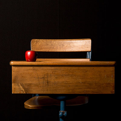 Old-fashioned school bench