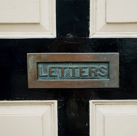 Letter box on door