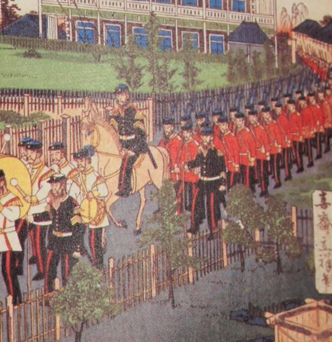 Japanese troupes marching