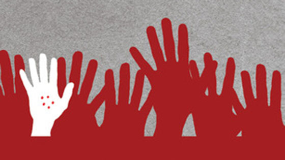 Illustration of red and white hands reaching up