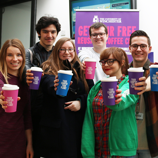 Chew fancy a brew? University of Winchester recycled coffee cups campaign shortlisted for national award