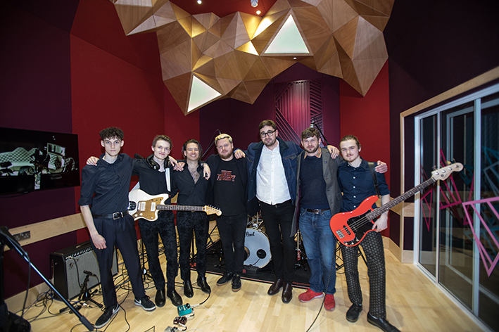 Alt-J and student band in the recording studio