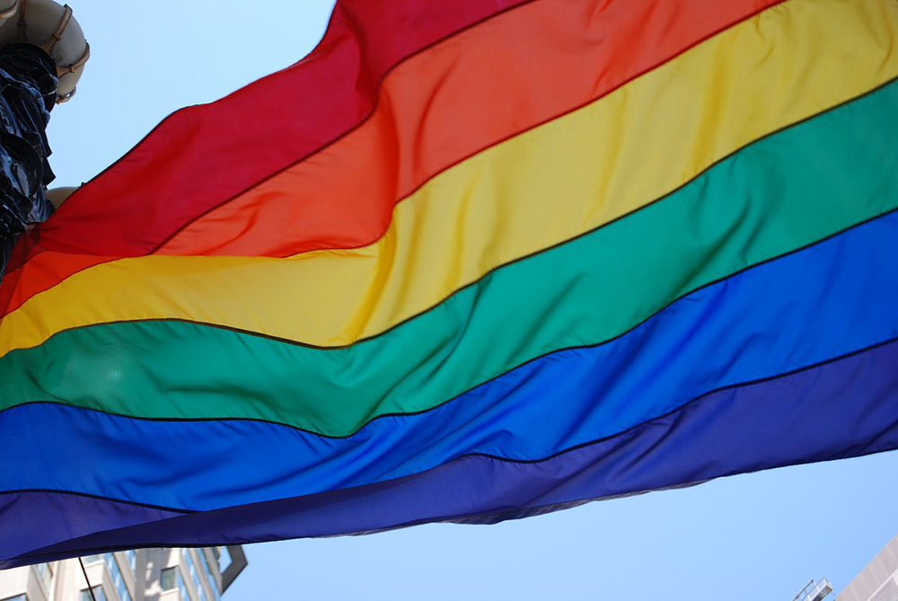 LGBT pride flag rustling in the wind