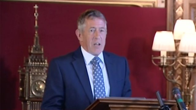 John Denham delivering the Speaker's Lecture 2018