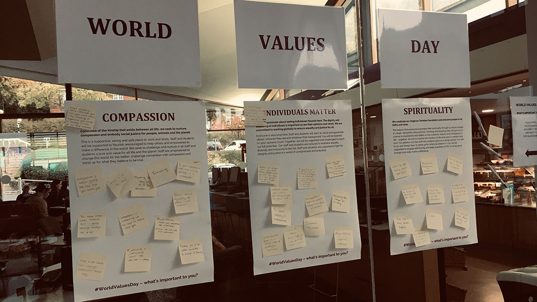 World Values Day three note boards for participants to add to