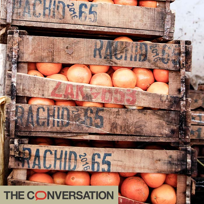 oranges packed in wooden crates