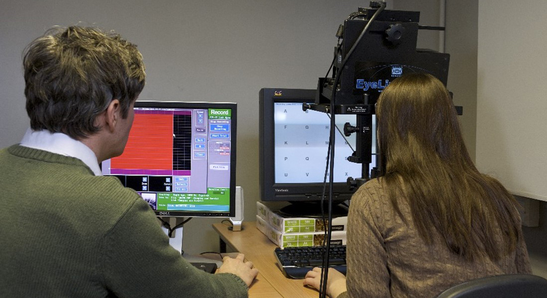 University of Winchester Psychology perception research: image of two researchers using Eye Tracker equipment