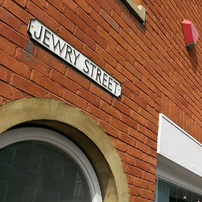 History research: Medieval Jewish Winchester image of Jewry Street sign