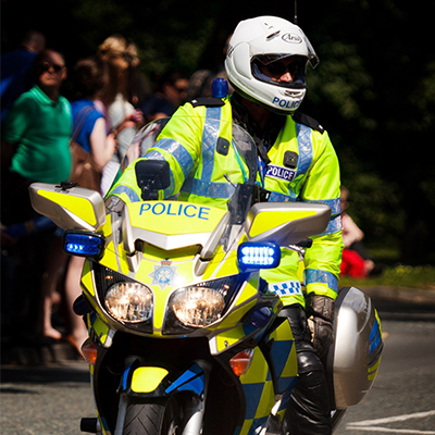 Policing at Winchester: policeman on motorbike