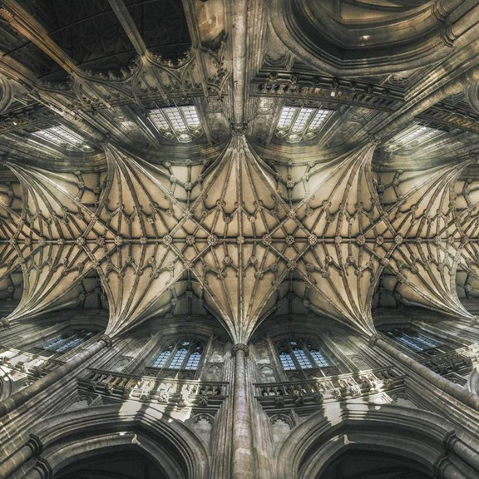 medieval local history at Winchester: Winchester Cathedral vault wide angle photo