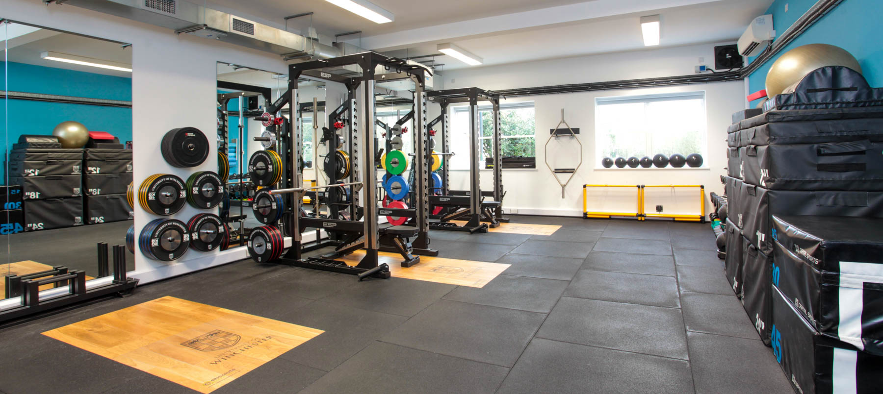 Room filled with gym equipment including weights and mats