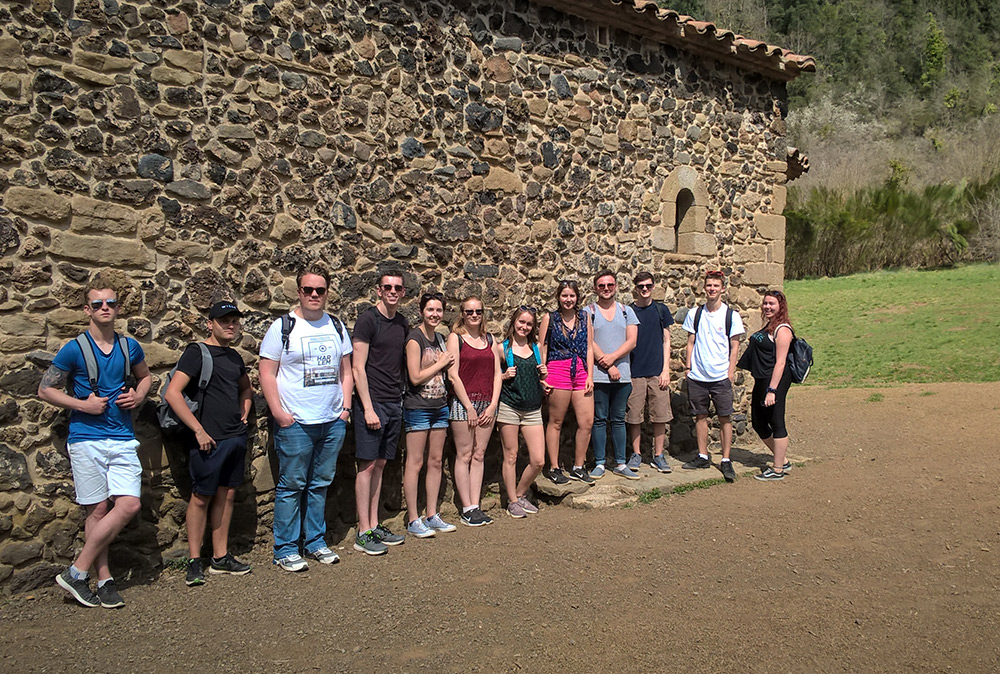 Students on a field trip in Spain