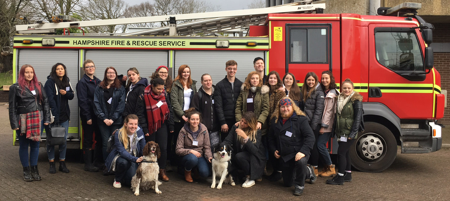Students in front of a fire engine