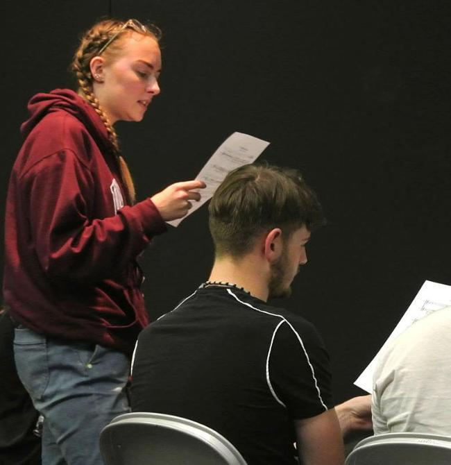 Hannah in rehearsal for Flower Cutters with MD Sam Cable and composer Josh Bird