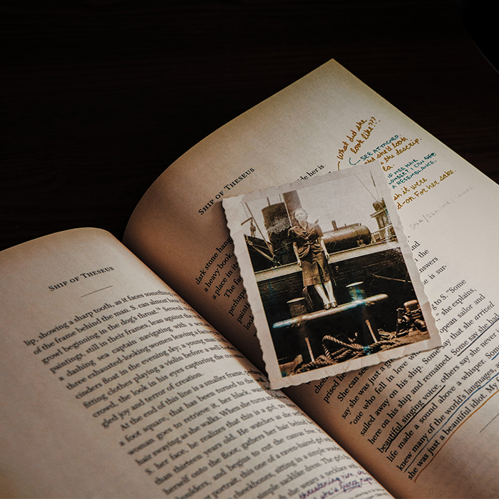 Book with photo on top