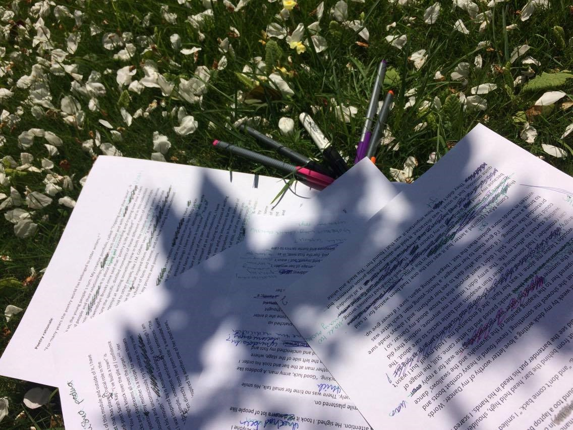 Notes and pens in the grass