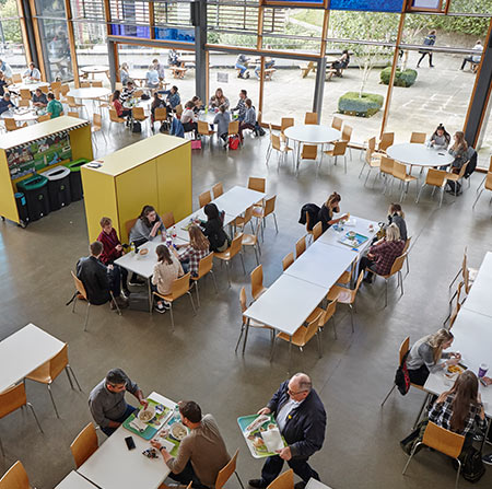 Students eating in the Food Hall